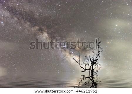 Milky Way Night sky scenes landscape Thailand. Long exposure photograph with grain - stock photo