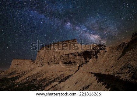 Milky way over Barenas desert at night - stock photo