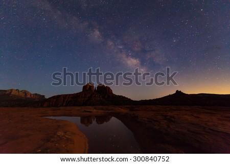 Milky Way Over Cathedral Rock Sedona Arizona - stock photo