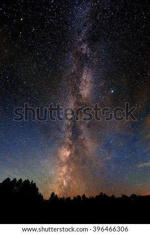 Milky Way over forest in Stowe, Vermont. - stock photo