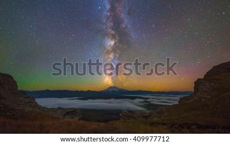 Milky Way over Mount Elbrus - stock photo