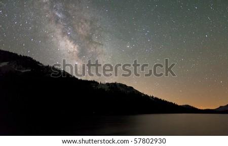 Milky Way Shines on Tenaya Lake - stock photo
