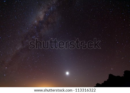 Milky Way shot from 5000m altitude on Chimborazo volcano in Ecuador. - stock photo