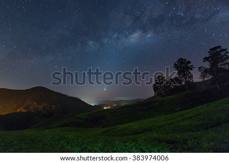 Milky way star and Tea plantation in Cameron highlands, Malaysia - stock photo