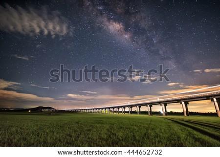 milky way with railway bridge - stock photo