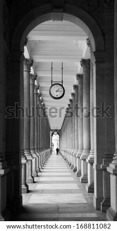 Mill colonnade in Karlovy Vary in black and white (Czech Republic) - stock photo