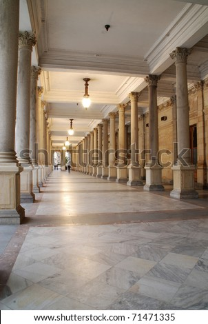 Mill colonnade (Mlynska kolonada) in Karlovy Vary, Czech Republic, - stock photo