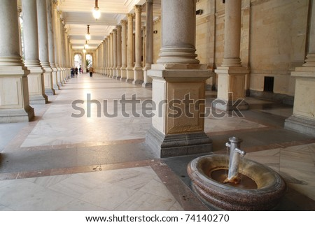 Mill colonnade (Mlynska kolonada) in Karlovy Vary, Czech Republic. Detail on the healing spring fountain - stock photo