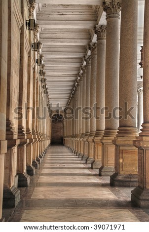 Mill colonnade (Mlynska kolonada) in Karlovy Vary, Czech Republic, HDR - stock photo