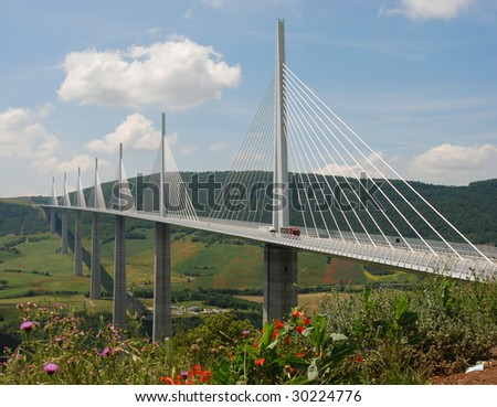 Millau bridge in France - stock photo