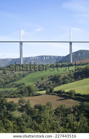 MILLAU, FRANCE - OCTOBER 23, 2014: Millau Viaduct designed by the French structural engineer Michel Virlogeux and British architect Norman Foster, it is the tallest bridge in the world