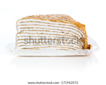 Mille crepes is a French cake made of many layers of crepe, very thin sweetened French pancakes, separated with firm whipped cream, making it destined to melt in your mouth