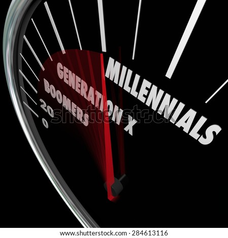 Millennials, Generation X and Boomers words on a speedometer to illustrate the different demographics and ages of generational groups - stock photo