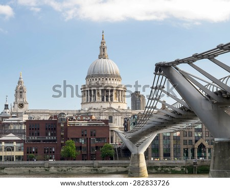 Millennium bridge and St Pauls in London,UK.