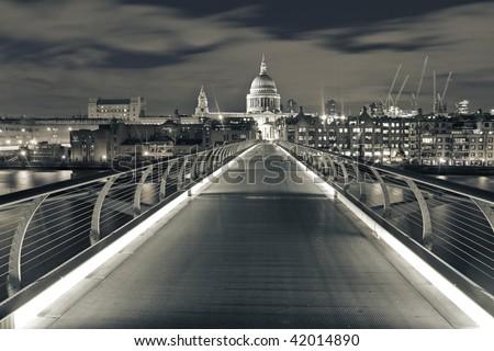 Millennium Bridge at night - stock photo