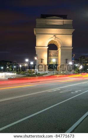 Millennium Gate at Atlantic Station in Midtown Atlanta, Georgia, USA. - stock photo