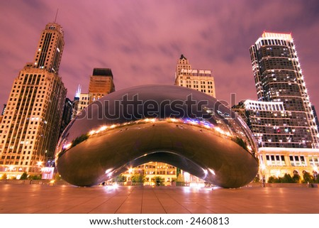 Millennium Park at night, Chicago, IL - stock photo