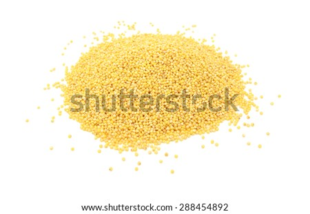 Millet grains, isolated on a white background - stock photo