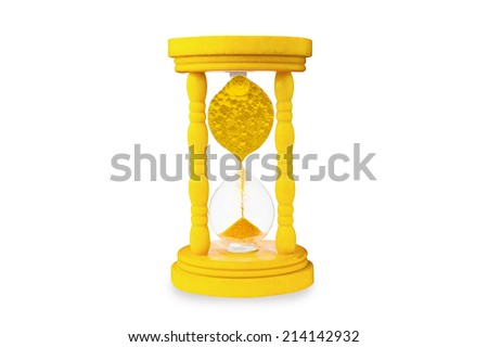 million dollar coin in vintage hourglass  - stock photo