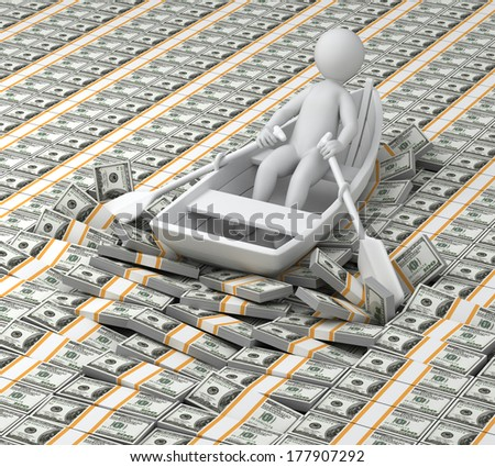 millionaire, 3d human floats in the boat on money (Dollars)