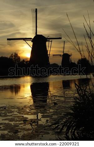 mills at kinderdijk,netherlands - stock photo