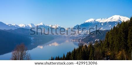 Millstatter Lake in winter. Austria - stock photo