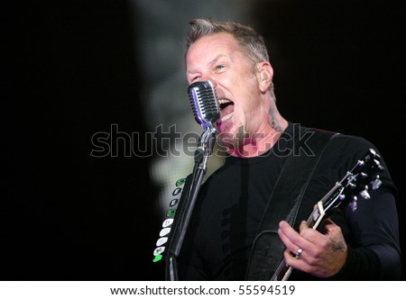 MILOVICE, CZECH REPUBLIC - JULY 19: Frontman of American metal group Metallica James Hetfield at Sonisphere festival on July 19, 2009 in Milovice, Czech republic. - stock photo