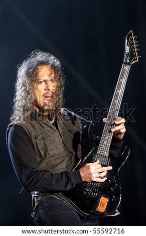MILOVICE, CZECH REPUBLIC - JULY 19: Guitarist of American metal group Metallica Kirk Hammet at Sonisphere festival on July 19, 2009 in Milovice, Czech republic. - stock photo