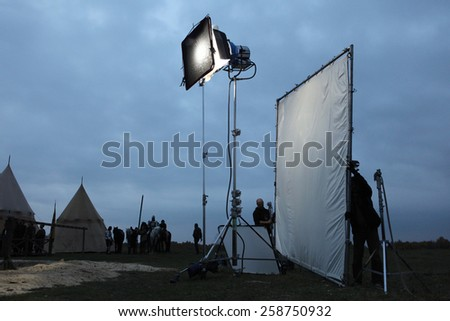 MILOVICE, CZECH REPUBLIC - OCTOBER 23, 2013: Filming of the new movie The Knights directed by Carsten Gutschmidt near Milovice, Czech Republic. - stock photo
