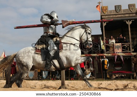 MILOVICE, CZECH REPUBLIC - OCTOBER 23, 2013: Medieval jousting competition during the filming of the new movie The Knights directed by Carsten Gutschmidt near Milovice, Czech Republic. - stock photo