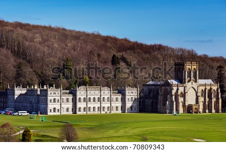 Milton Abbey and private School at Milton Abbas Dorset - stock photo