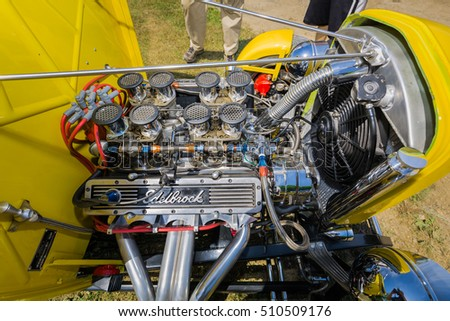 Milton, Ontario, Canada, June 18, 2016, closeup beautiful amazing view of old retro vintage street rod car detailed engine and parts