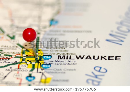 milwaukee pin on the map - stock photo