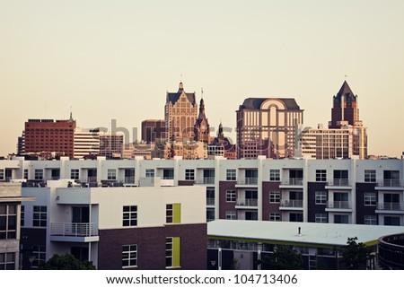 Milwaukee skyline and the apartment buidlings - stock photo