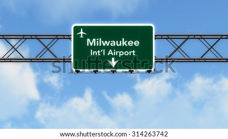 Milwaukee USA Airport Highway Sign 3D Illustration