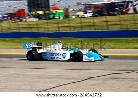 Milwaukee Wisconsin, USA - August 16, 2014: Indycar Indy Lights series practice and qualifying, Milwaukee Mile. 83 Matthew Brabham - United States, Andretti Autosport