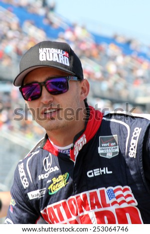 Milwaukee Wisconsin, USA - August 17, 2014: Verizon Indycar Series Indyfest ABC 250  driver prade. 15 Graham Rahal New Albany, Ohio National Guard Honda Rahal Letterman Lanigan Racing