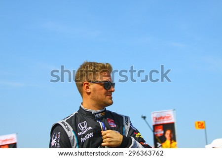 Milwaukee Wisconsin, USA - July 12, 2015: Verizon Indycar Series Indyfest ABC 250 at the Milwaukee Mile. Driver introductions before the race James Jakes.