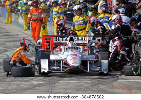 Milwaukee Wisconsin, USA - July 12, 2015: Verizon Indycar Series Indyfest ABC 250 at the Milwaukee Mile. Pit stop for Helio Castroneves Sao Paulo, Brazil Hitachi Team Penske Chevrolet