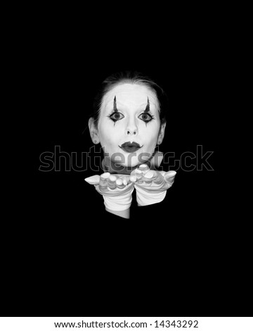 mime blows a kiss - stock photo