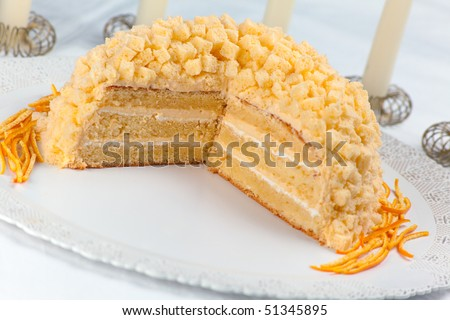 Mimosa cake made of sponge cake, cream patisserie, whipped cream and orange flavored. Decorated with small cubes of spongecake all over. Shallow depth of field on cake center