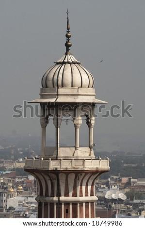 Minaret at the Jama Masjid (Friday Mosque) in Old  Delhi, India - stock photo