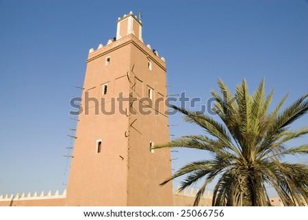 Minaret of the Sidi Ali Ou Sa'd mosque in Tiznit Morocco - stock photo