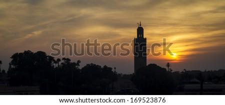 Minaret on sunset, Marrakech, Morocco - stock photo