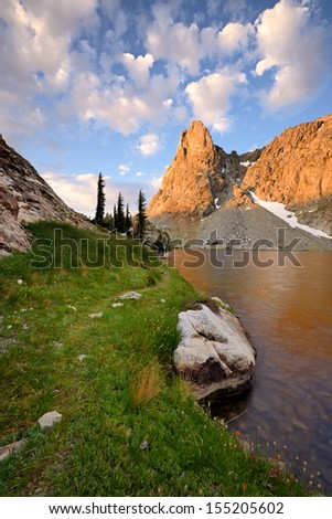 Minarets and the Minaret Lake, Ansel Adams Wilderness, Sierra Nevada, California - stock photo
