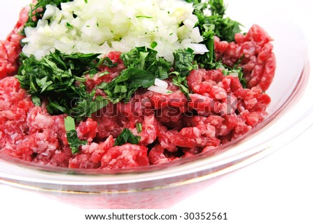 mince meat ready to prepare with vegetables