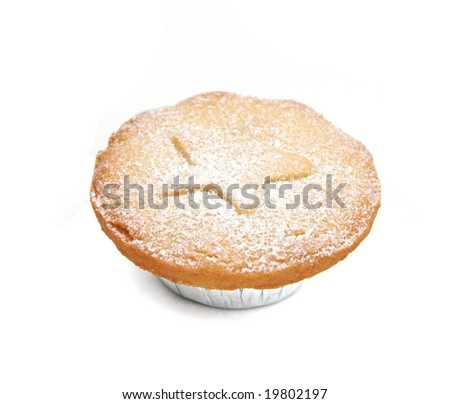 Mince pie dusted with icing sugar - stock photo