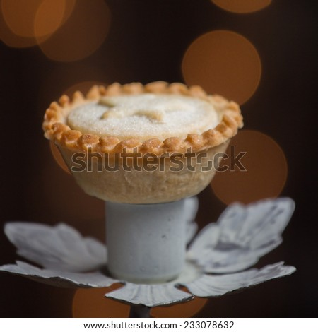 Mince Pie with out of focus highlights - stock photo