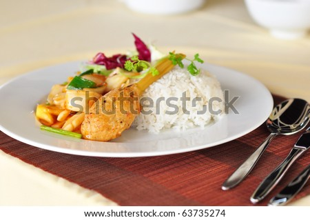 mince pork or shrimp and cover the lemon grass cooked with sweet and sour ingredient and served with rice -- vietnamese food - stock photo