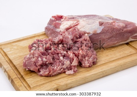 Minced meat on a  board  - stock photo